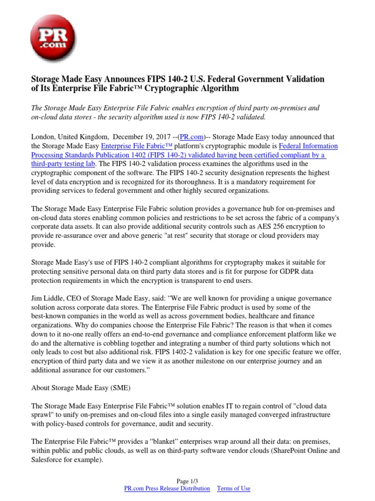 Storage Made Easy Announces FIPS 140-2 U S  Federal