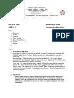 Rey Jay M. Dacar- Comprehensive Examination in Stattics of Rigid Bodies