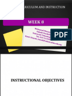 week 8 instructional  objectives