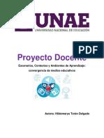 Proyecto Docente Escenarios, Contextos y Ambientes de Aprendizaje