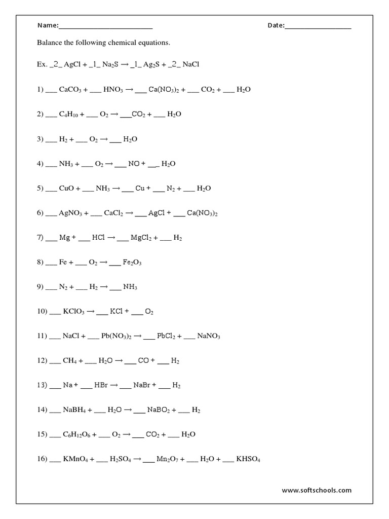 worksheet Balancing Chemical Equations Worksheet 1 Answer Key balancing chemical equations worksheets 1