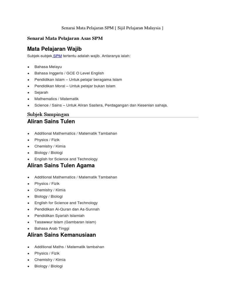 Senarai Mata Pelajaran Spm