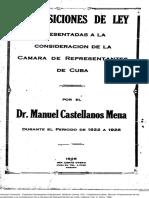 Castellanos Mena Proposiciones de Ley a Cámara 1926