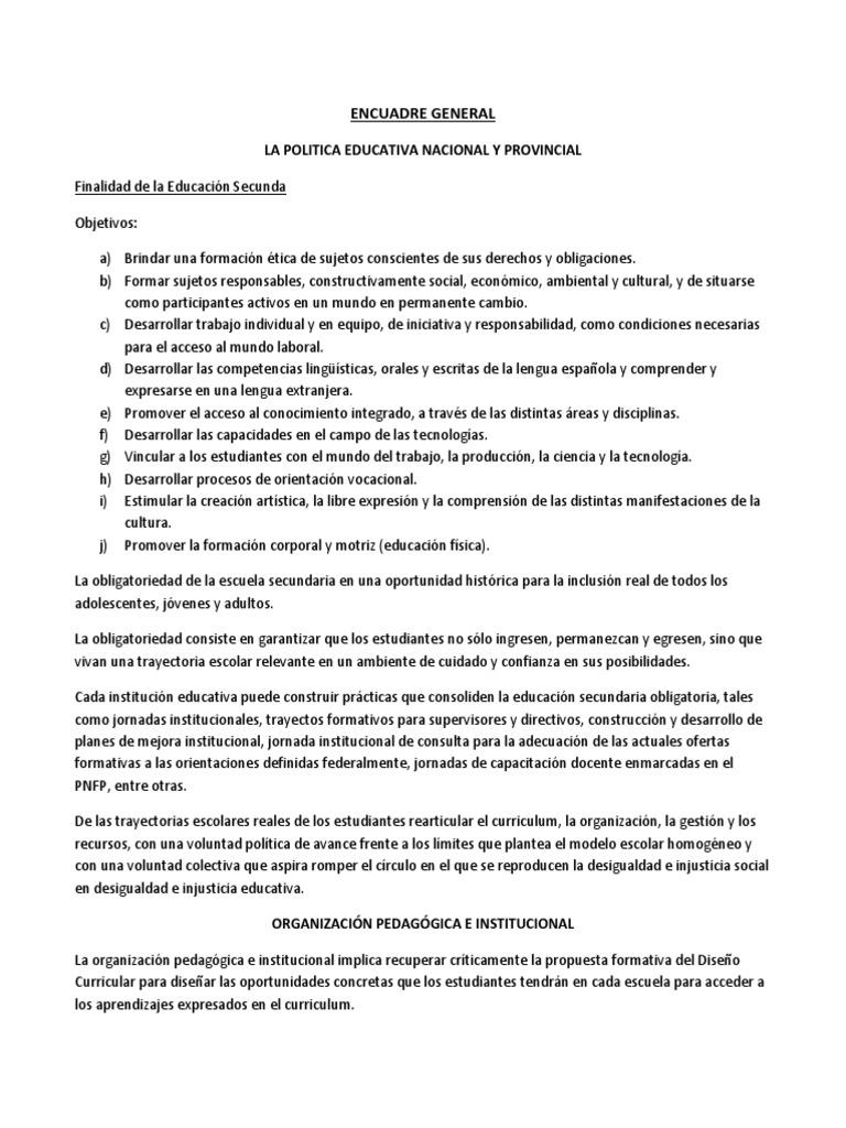 Curriculum Educativo - Encuadre General
