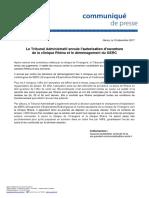 Communiqué de l'ARS :Le Tribunal Administratif annule l'autorisation d'ouverture de la clinique Rhéna et le déménagement du GERC