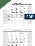 2018 Meeting Schedule