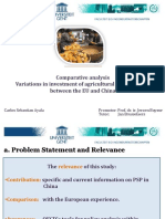 Comparative analysis Variations in investment of agricultural price support between the EU and China