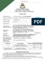 Coast Gaurd Commandant Admit Card
