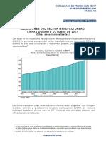 Indicadores del Sector Manufacturero. Cifras durante Octubre de 2017 (Cifras desestacionalizadas)