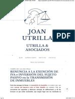 Renuncia a La Exención de Iva e Inversión Del Sujeto Pasivo en La Transmisión de Inmuebles – Joan Utrilla