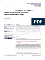 """The Decisive Role Played by Leibniz in the History of Both Science and Philosophy of Knowledge Antonino Drago Naples University """"Federico II"""", Naples, Italy Abstract The present paper addresses the criticism of Kant that he ignored both the non-classical reasoning of the empiricists and Leibniz's attempt to found mechanics anew. By taking into account this logical divergence Kant's antinomies—actually applying Leibniz's two labyrinths of human reason to particular subjects—represent two parallel ways of reasoning according to the two alternatives of a dichotomy regarding the kind of logic. By adding a dichotomy regarding the kind of mathematics a new conception of the foundations of the science is obtained. Leibniz's philosophy of knowledge represents the closest approximation to these foundations in both the history of science and the history of philosophy of knowledge."""