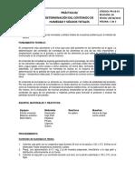 Práctica 2. Determinación de Contenido de Humedad y Sólidos Totales