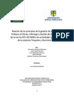 Relación de los principios de la gestión de la calidad de Enfoque al Cliente, Liderazgo y Gestión de las relaciones de la norma NTC-ISO 9000