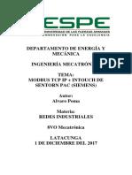 MODBUS TCP IP + INTOUCH DE SENTORN PAC (SIEMENS)
