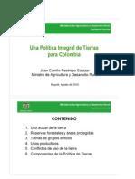 Una Política Integral de Tierras para Colombia - Min. Agricultura Juan Camilo Restrepo