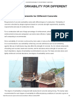Concrete Workability for Different Conditions