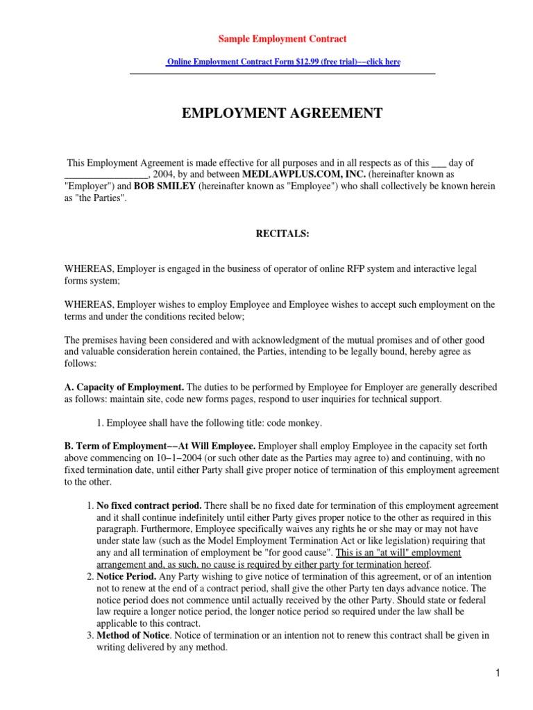 employee agrement