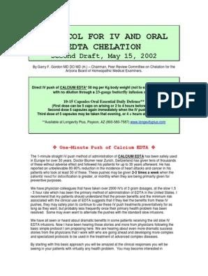 EDTA IV and Oral Chelation Protocol | Dose (Biochemistry