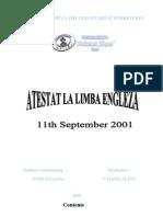 Atestat Engleza 11 Sept 2001