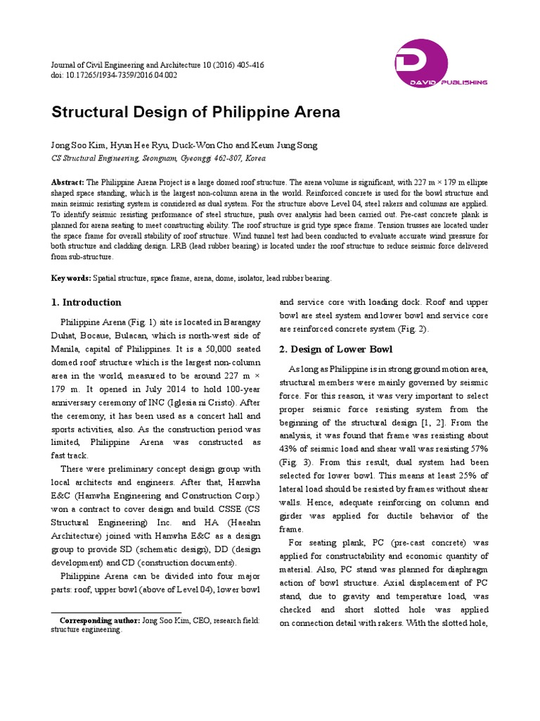 Philippine Arena Structural Design | Truss | Earthquake Engineering