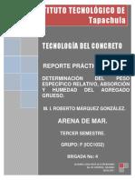Reporte Practica No. 7.- DETERMINACIÓN DEL PESO ESPECÍFICO RELATIVO, ABSORCIÓN Y HUMEDAD DEL AGREGADO GRUESO.
