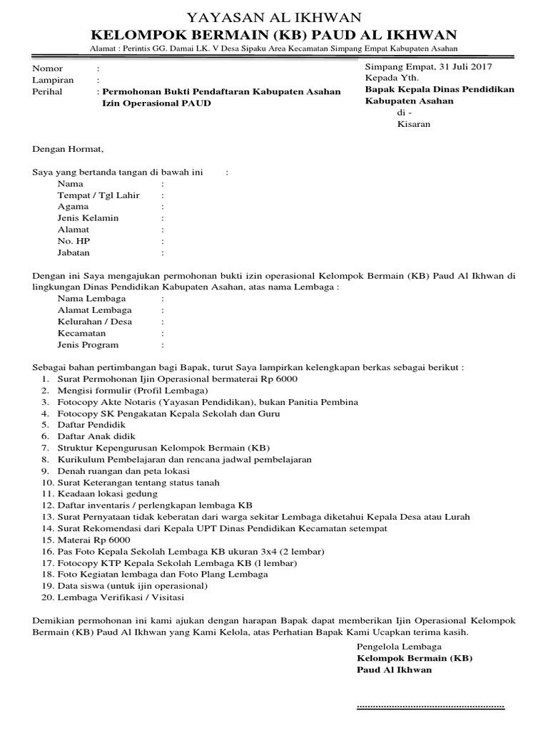 358080661 Contoh Surat Permohonan Ijin Operasional Paud Docx