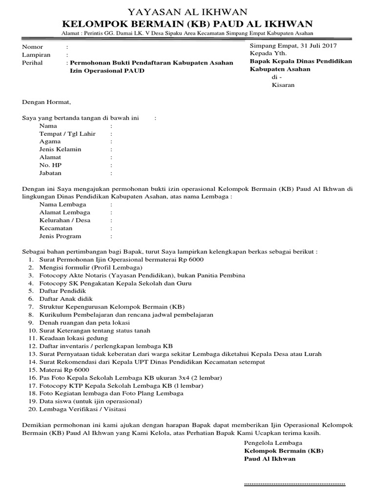 Contoh Surat Permohonan Ijin Operasional Paud