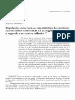 Regulação Social Tardia. Características Das Políticas Sociais Latinoamericanas Na Passagem Entre o Segundo e Terceiro Milênio