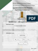 TP L'Essai de Micro Deval 1er Mastre Matériaux
