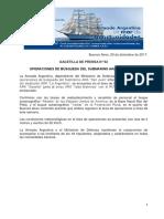 """GACETILLA DE PRENSA N°62 OPERACIONES DE BÚSQUEDA DEL SUBMARINO ARA """"SAN JUAN"""""""