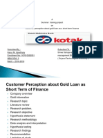 Customer Perception About Gold Loan as Short Term Finance