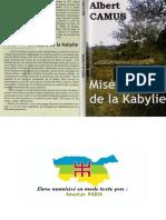 Albert Camus Misère de Kabylie