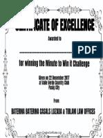 Certificate Minute