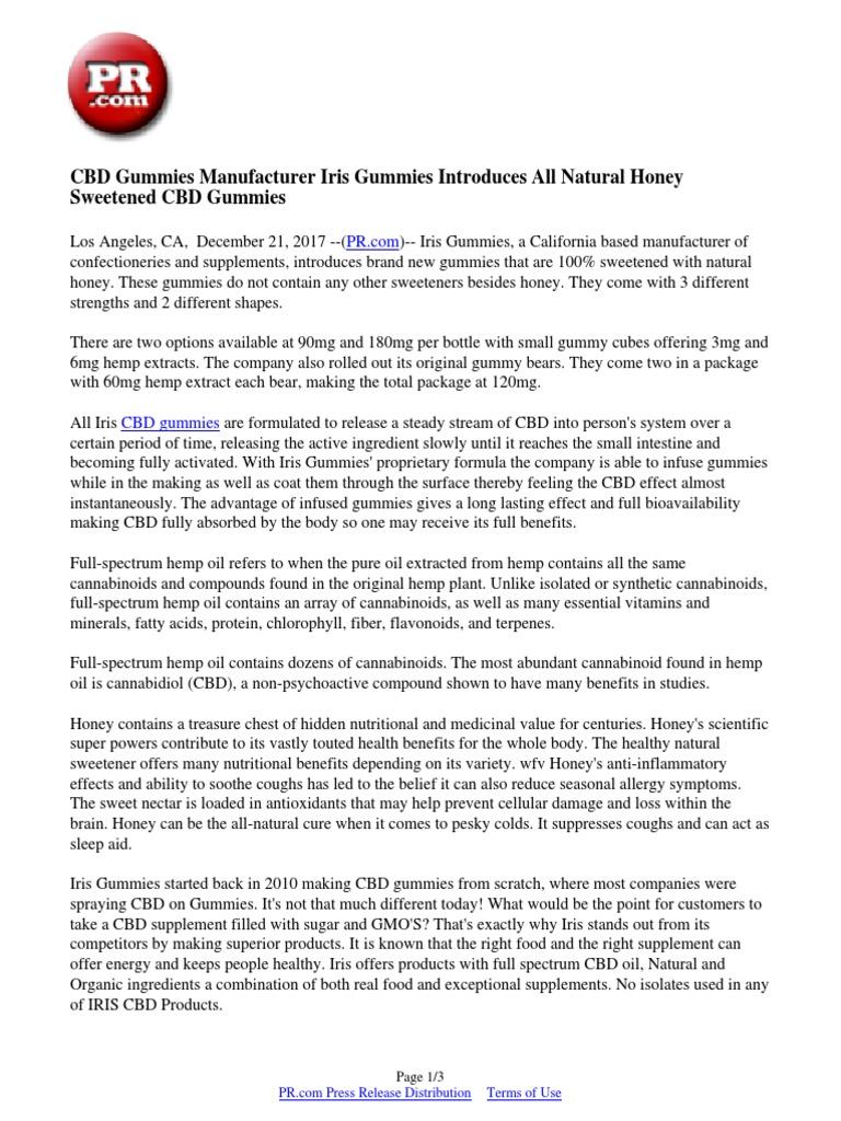 CBD Gummies Manufacturer Iris Gummies Introduces All Natural Honey