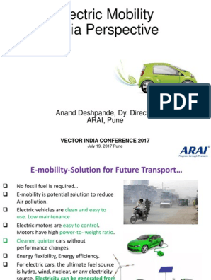 1_E-Mobility - India Perspective | Electric Vehicle | Plug
