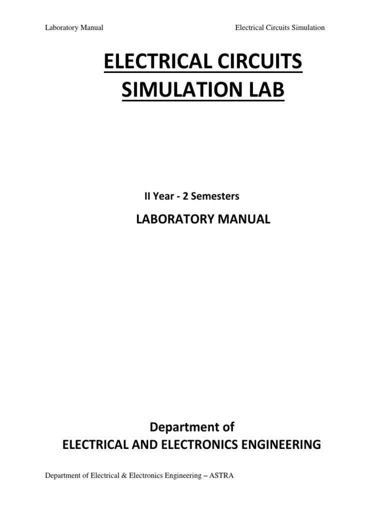 electrical circuit simulation lab pdf electrical network rh scribd com electrical simulation lab manual for jntu pdf electrical circuits simulation lab manual