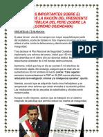 Puntos Importantes Sobre El Mensaje de La Nación Del Presidente de La República Del Perú