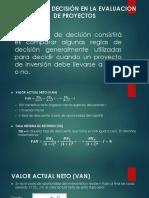 Criterios de Decisión en La Evaluacion de Proyectos