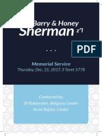 Sherman Memorial Program