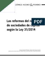 Las Reformas Del Regimen de Sociedades de Capital Segun La Ley 31 2014