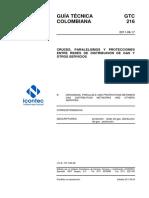 GTC 216 - CRUCES, PARALELISMOS Y PROTECCIONES ENTRE REDES DE DISTRIBUCIÓN DE GAS Y OTROS SERVICIOS.pdf