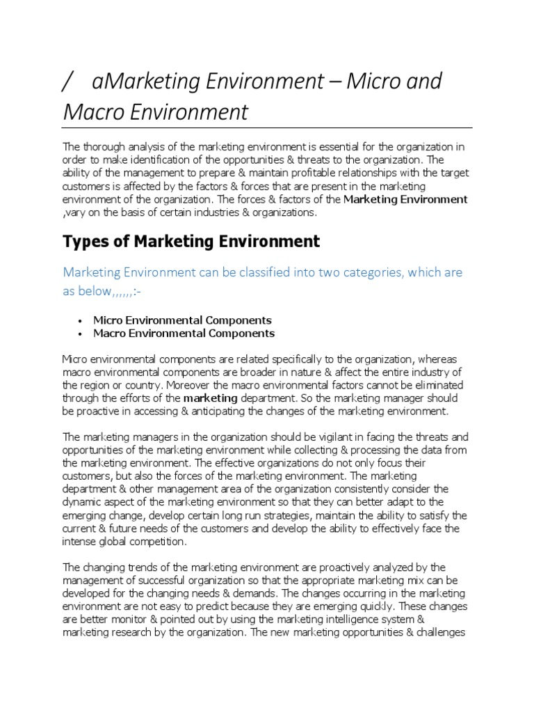 analyzing the macro environment in marketing management