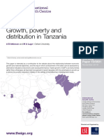Growth, Poverty and Distribution in Tanzania