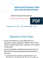 Education Policies and Practices - What Have We Learnt and the Road Ahead