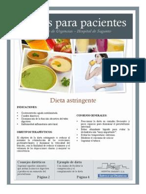 dieta astringente para diarrea pdf