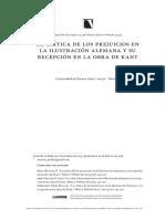 Pablo Moscón, La Crítica de Los Prejuicios en La Ilustrción Alemana y Su Recepción en La Obra de Kant