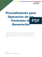 Procedimiento para Operación de las Centrales de Generación