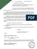 City of Franklin Full-Time Mayor Referendum Resolution