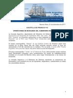 """GACETILLA DE PRENSA N°63 OPERACIONES DE BÚSQUEDA DEL SUBMARINO ARA """"SAN JUAN"""""""