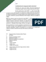 Selección de Combinaciones de Carga Para Diseño Estructural